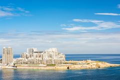 Aerial view over modern hotels in  Sliema Bay,Malta.  Royalty Free Stock Image