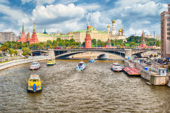 Aerial view over Moskva River and the Kremlin, Moscow, Russia. Scenic aerial view over Moskva River and the Kremlin, in central Moscow, Russia Stock Photos
