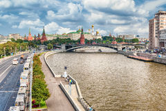 Aerial view over Moskva River and the Kremlin, Moscow, Russia Stock Images