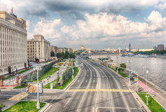 Aerial view over Moskva River from Pushkinsky Pedestrian Bridge, Stock Image