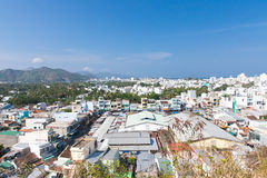 Aerial view over Nha Trang city. From Long Son Pagoda, popular tourist destination in Vietnam stock photography