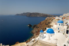 Aerial view over Oia, Greece Royalty Free Stock Image