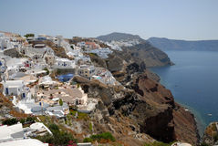 Aerial view over Oia, Greece Stock Images