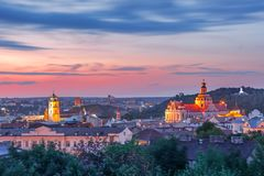 Old town at sunset, Vilnius, Lithuania. Aerial view over Old town with Gediminas Castle Tower, churches and Three Crosses on the Bleak Hill at sunrise, Vilnius royalty free stock images