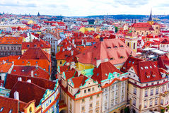 Aerial view over the old town of Prague, Czech Republic Royalty Free Stock Image