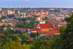 Aerial view over Old town of Vilnius, Lithuania. Stock Photos