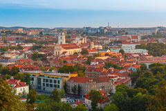 Aerial view over Old town of Vilnius, Lithuania. Royalty Free Stock Photos