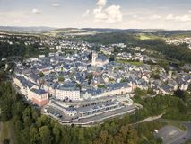 Old town of Weilburg, Germany. Aerial view over the old town of Weilburg. Limburg-Weilburg district in Hesse, Germany royalty free stock image
