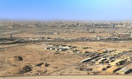 Aerial view over outskirts of Doha, Qatar Royalty Free Stock Photos