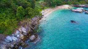 Aerial view over palm trees, rocks and sea in Phuket Stock Photo