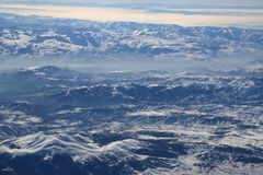 Aerial view of Pontic Mountains in winter Stock Photography