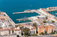 Aerial View Over Port And City Of Gibraltar Royalty Free Stock Images