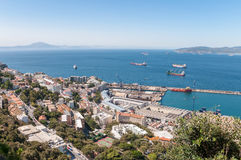 Aerial view over port and city of Gibraltar Royalty Free Stock Photography