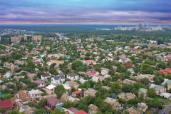 Aerial view over the private houses Royalty Free Stock Photos