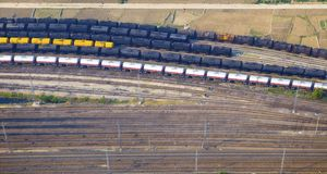 Aerial view over the railway Stock Photography