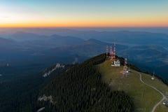 Aerial view over Rarau mountains in Romania stock photos