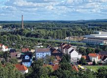 Aerial view over Rathenow, railroad and Wolzensee lake Germany Royalty Free Stock Images