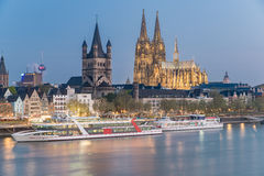Aerial view over the Rhine River with cruise ship in Cologne Royalty Free Stock Photo