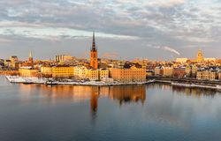 Aerial view over Riddarholmen, Stockholm. Riddarholmen island and old town in Stockholm Stock Photo