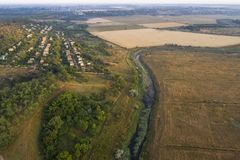 Aerial view over the river stream. Royalty Free Stock Photos