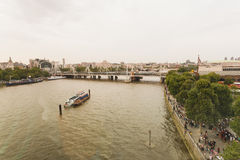 Aerial view over the river thames Stock Image