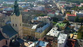 Aerial view over the roof of Lviv, Ukraine stock video