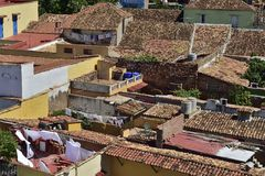 Aerial view over the roofs of Colonial town Trinidad, Picturesque elements of traditional architecture. Royalty Free Stock Image