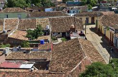 Aerial view over the roofs of Colonial town Trinidad, Picturesque elements of traditional architecture. Stock Photo