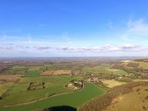 Aerial view over the Sussex countryside along the South Downs Way. Stock Photography