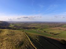 Aerial view over the Sussex countryside along the South Downs Way. Stock Photo
