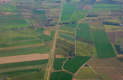 Aerial view over rural landscape Royalty Free Stock Photos