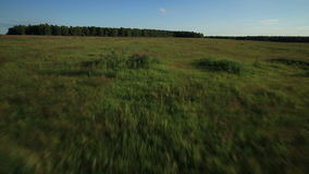 Aerial view over rural landscape in summer stock footage