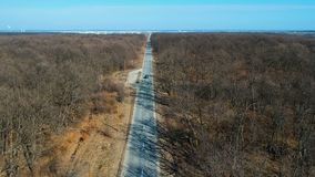 Aerial view above the road. Aerial view over the rural road: top view above the forest stock footage