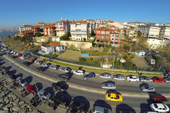 Aerial view over Salacak Sahil Yolu Street in Istanbul. Stock Images