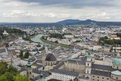 Aerial view over Salzburg city center, Austria Royalty Free Stock Photo
