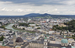 Aerial view over Salzburg city center, Austria Royalty Free Stock Images