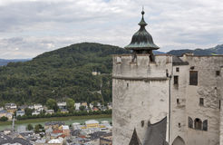 Aerial view over Salzburg historic center from fortress, Austria Royalty Free Stock Photography