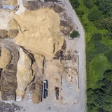Aerial view over the sandpit. Industrial place in Poland. Royalty Free Stock Photo