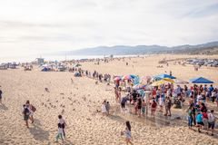 Aerial view over Santa Monica Beach in Los Angeles - LOS ANGELES, USA - MARCH 29, 2019 royalty free stock photo