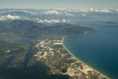 Aerial view over sea in Cam Ranh Bay, Vietnam. Royalty Free Stock Photo