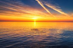 Aerial view over the sea, sunrise shot stock photo