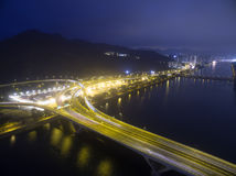 Aerial view over Shatin in Hong Kong. In the evening. It can show the night scenes in of Shatin Royalty Free Stock Photos