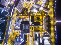 Aerial view over Shatin in Hong Kong. In the evening. It can show the night scenes in of Shatin Royalty Free Stock Image