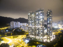 Aerial view over Shatin in Hong Kong. In the evening. It can show the night scenes in of Shatin Royalty Free Stock Photography