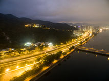 Aerial view over Shatin in Hong Kong. In the evening. It can show the night scenes in of Shatin stock images