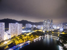 Aerial view over Shatin in Hong Kong. In the evening. It can show the night scenes in of Shatin Royalty Free Stock Images