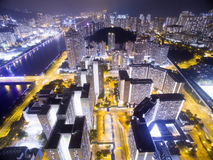 Aerial view over Shatin in Hong Kong. In the evening. It can show the night scenes in of Shatin Stock Photos