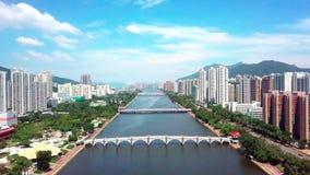 Aerial panarama view on Shatin, Tai Wai, Shing Mun River. Before typhoon Mangkhut come to Hong Kong