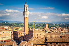 Aerial view over Siena: Mangia tower. On piazza del Campo Stock Images