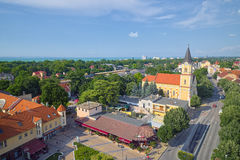 Aerial view over Siofok, Hungary Royalty Free Stock Photo